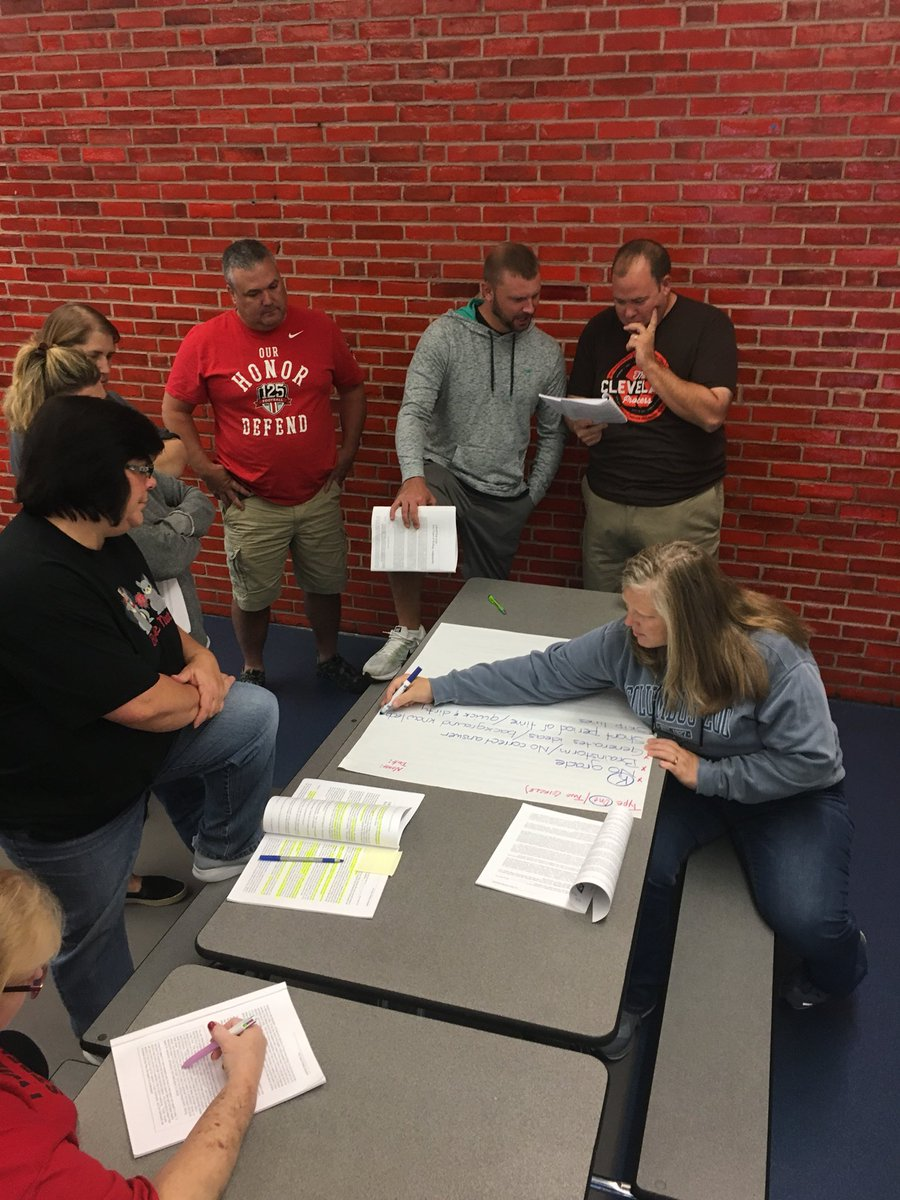 Staff members around a table working together on an assignment during their professional development