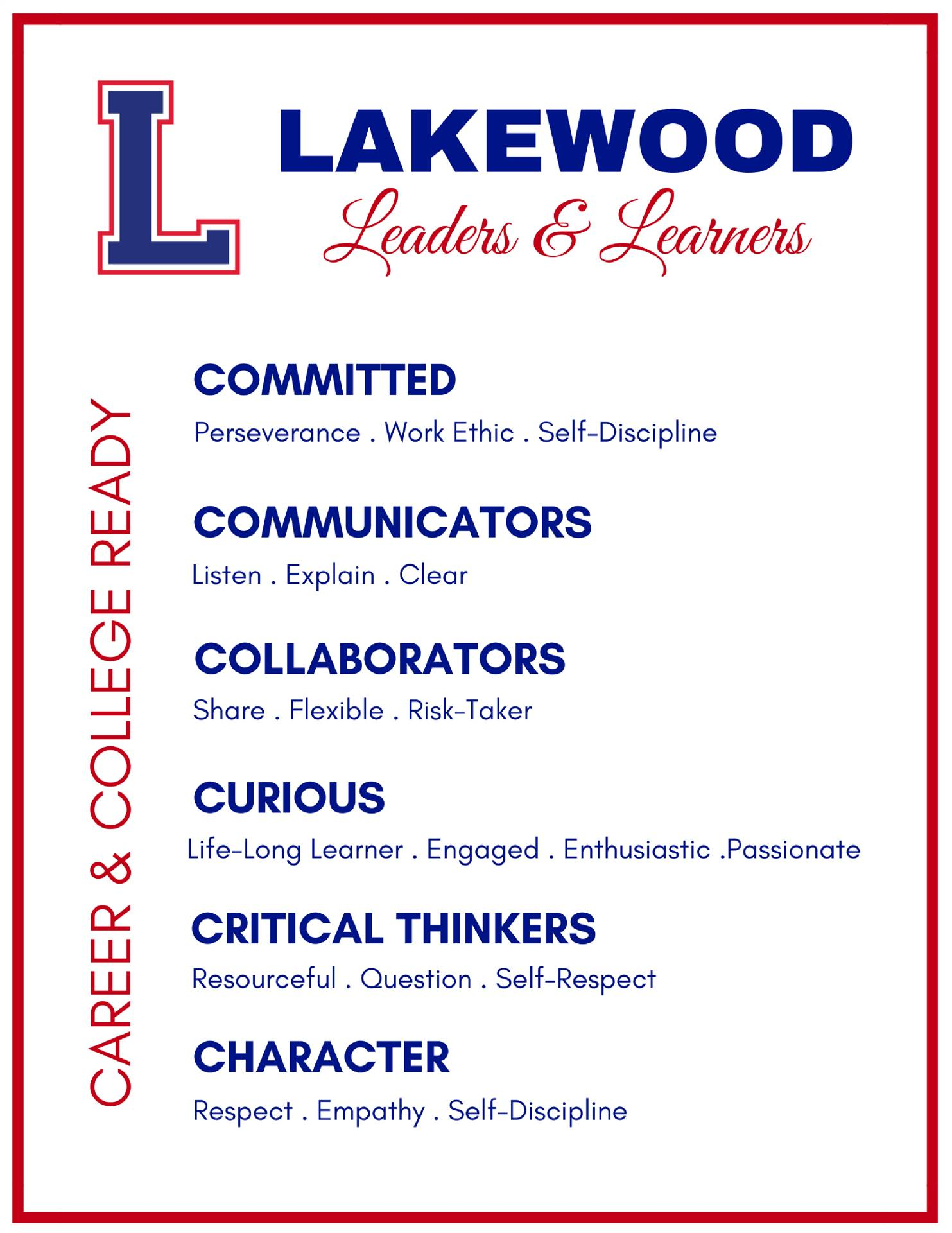 leaders & learners characteristics: committed, communicators, collaborators, curious, critical think