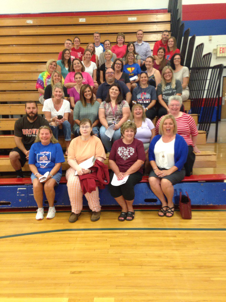 Group of staff members at Jackson Intermediate getting ready for the new school year.
