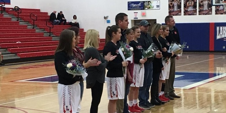 Seniors and parents on the basketball court