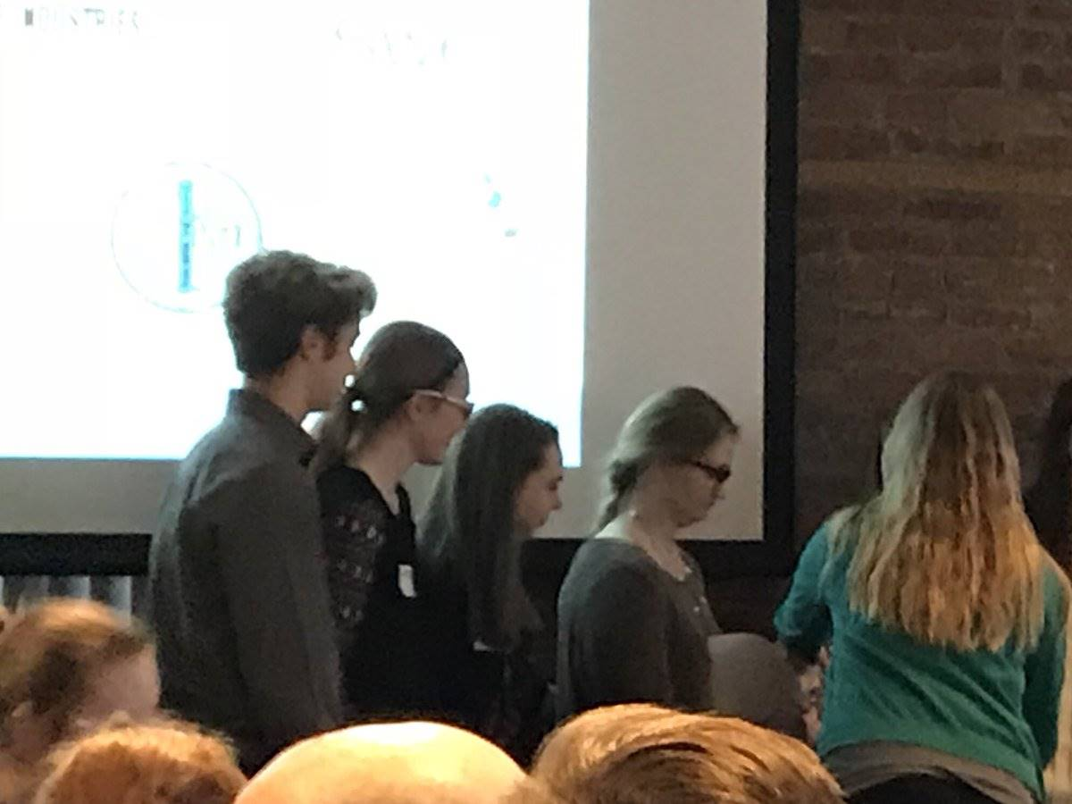 Students giving their presentation at STEMfest