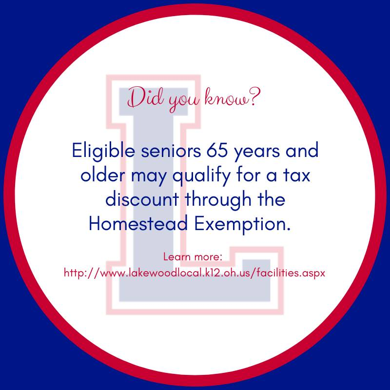 Eligible seniors 65 years and older may qualify for a tax discount through the Homestead Exemption.