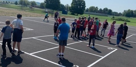 Middle school students enjoying recreation time