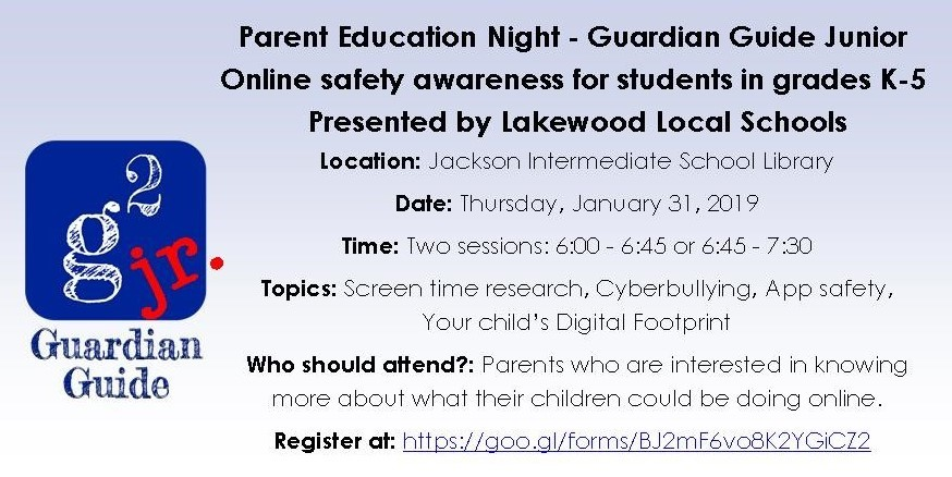 Parent Education Night for Online Safety for grades K - 5 Jan 3. 2 sessions: 6 - 6:45PM and 6:45 - 7:30PM