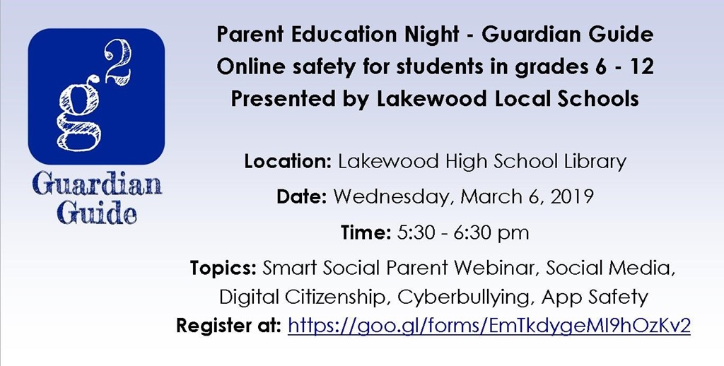 Parent Education Night for students in grades 6 - 12 Wed, March 6th from 5:30 - 6:30 in the LHS Library