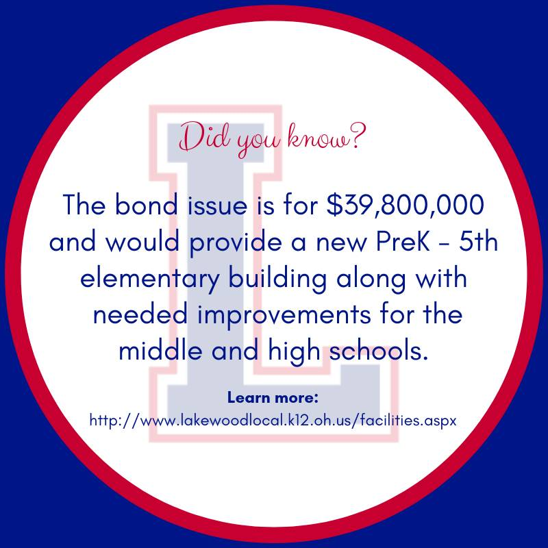 The bond issue is for $39,800,000 and would provide a new PreK - 5th elementary building along with