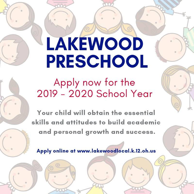 Apply to Lakewood Preschool for the 2019 - 2020 school year