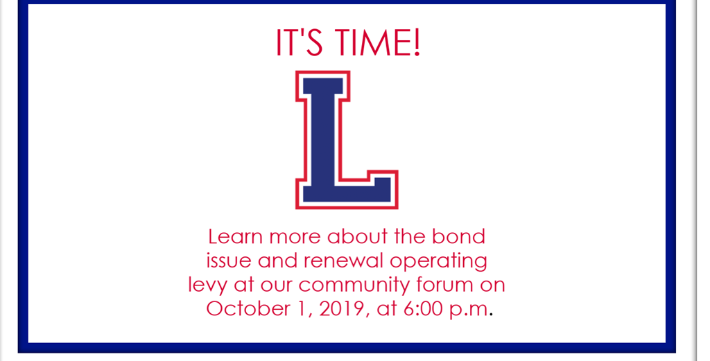 Learn more about the bond issue and renewal operating levy at our community forum on October 1, 2019, at 6:00 p.m.