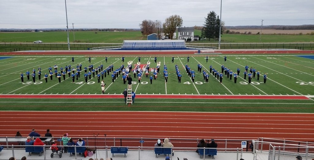 image of lancer band on football field