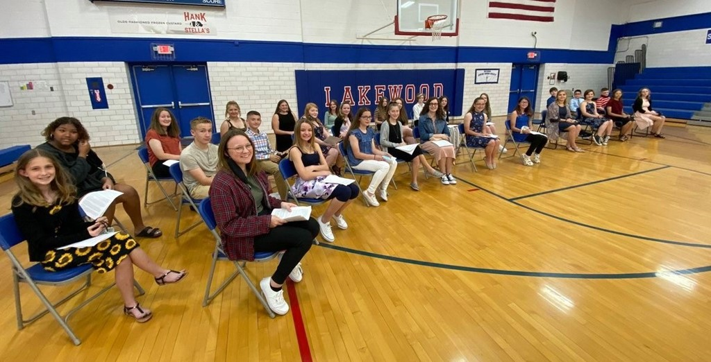 National Junior Honor Society members at the induction ceremony